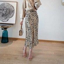 กระโปรงผู้หญิงMidi Slipผ้าไหมซาตินLeopardพิมพ์ElasticเอวSlip Midiกระโปรง