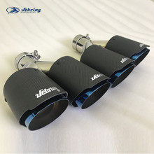 1pc sebring Blue bright carbon brazed double outlet muffler modified tail throat car stainless steel exhaust pipe  tail pipe