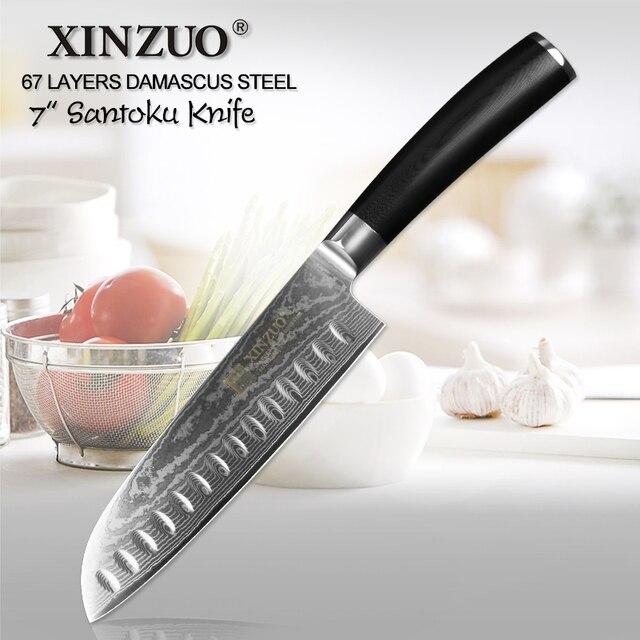"""XINZUO 7 """"Santoku סכין vg10 דמשק יפני נירוסטה סכיני מטבח מקצועי שף קליבר לבשל כלים G10 ידית"""