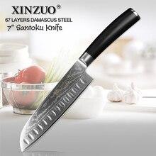 """Xinzuo 7 """"faca santoku vg10 damasco japonês facas de cozinha aço inoxidável profissional chef cutelo cozinhar ferramentas g10 lidar com"""