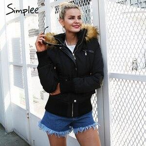 Image 5 - Simplee Hood padded parka winter jacket women coat Fur warm pocket zipper winter overcoat Snow wear thick jacket coat female