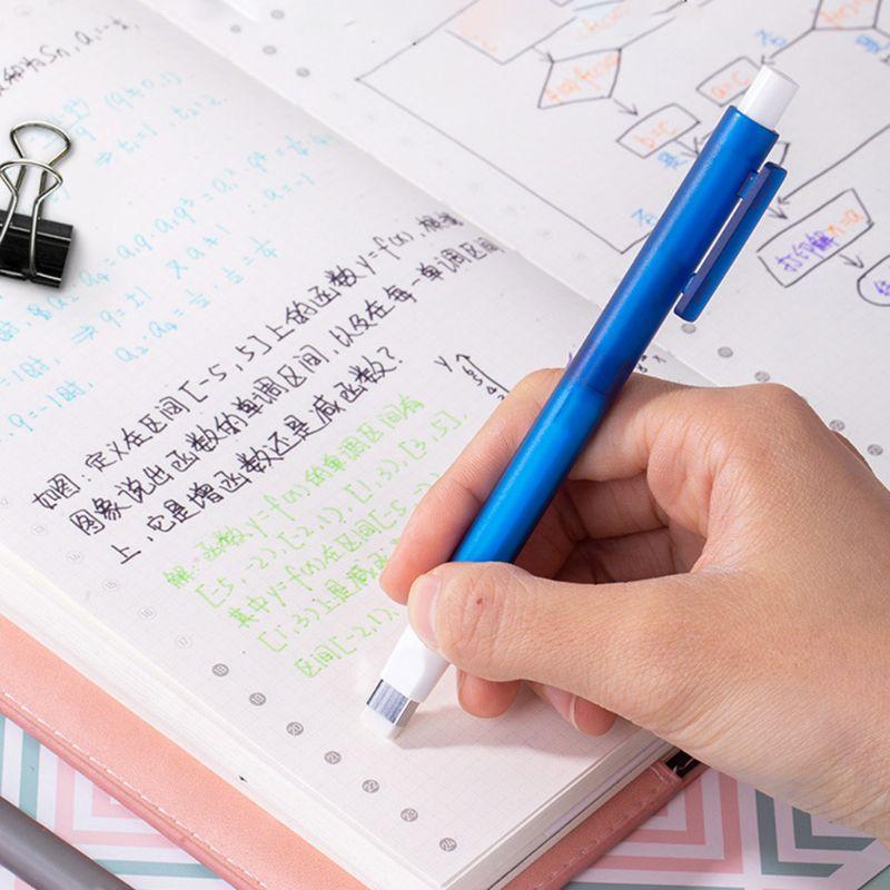 Mechanical Eraser Meticulous Highlighting Refillable Pen Shape Rubber Press Type