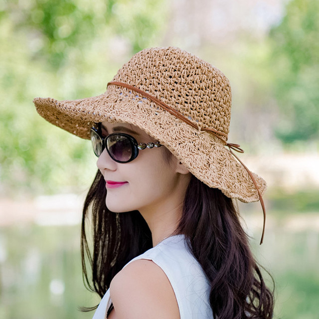 Womail Fisherman Hat Ladies Summer Fashion Casual Solid Color Straw Cap Lotus Leaf Bow Sunscreen Beach Hat Sunscreen