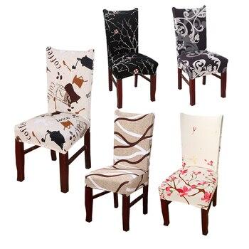Spandex elástico funda de poliéster para silla nórdico impresión Floral Anti-sucio funda de asiento comedor silla de oficina protección de asiento cubierta