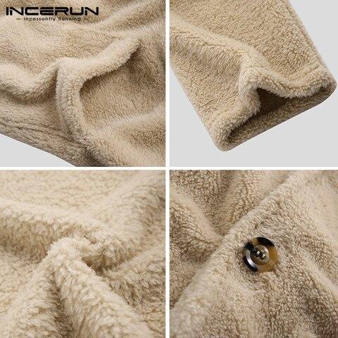INCERUN Fashion Faux Fleece Men Coats Solid Outerwear Plush Pockets 2019 Long Sleeve Fluffy Overcoat Streetwear Men Jackets 5XL Islamabad