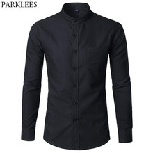 Mannen Oxford Slim Fit Dress Shirt Merk Mandarijn Kraag Lange Mouwen Chemise Homme Toevallige Buisness Kantoor Shirt Met Pocket zwart