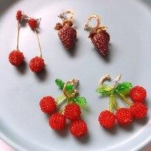 Ztech 2020 New Style Fashion Temperament Red Pendant Korean Long Cherry Strawberry Studs Web Celebrity Earrings Female Jewelry