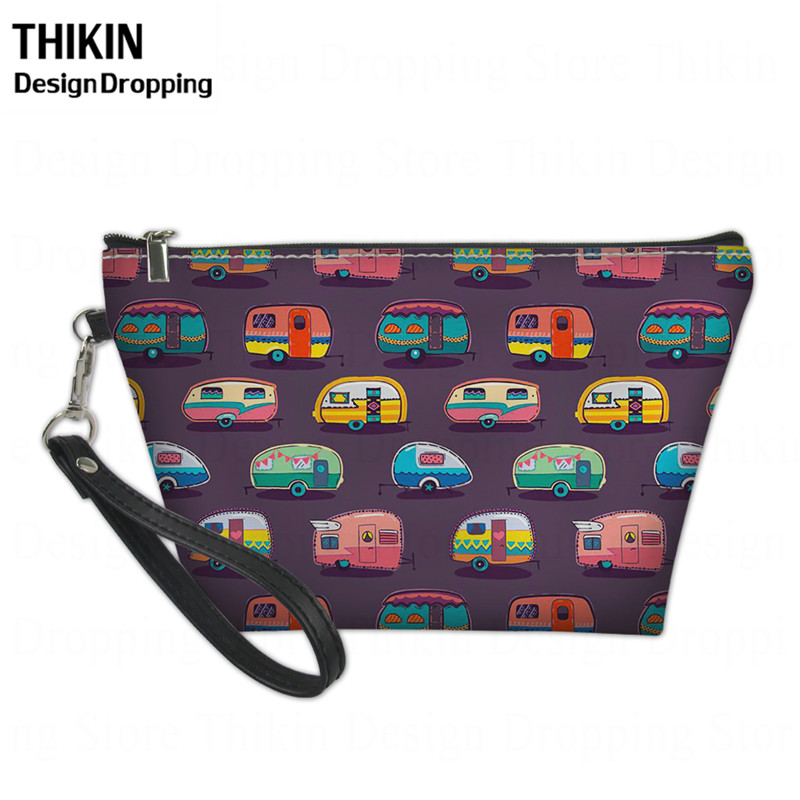 THIKIN 2019 Happy Camper Printing Women Large Cosmetic Bag Box Ladies Makeup Bags Travel Beauty Wash Kit Pouch Zipper Neceser