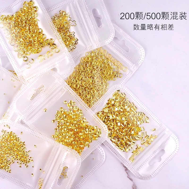 1 バッグ 200-500 個ゴールドラインネイルアート部品装飾スターサークルムーンネイルアートネイルサロン