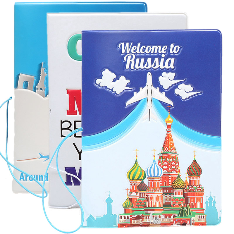 Welcome To Russia Passport Cover Wallet Bag Travel Accessorie Women Men PU Leather ID Address Holder Portable Boarding Card Case