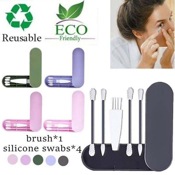 DishyKooker 4Pcs/8Pcs Double Head Silicone Cleaning Cotton Swab Brush Reusable Sticks