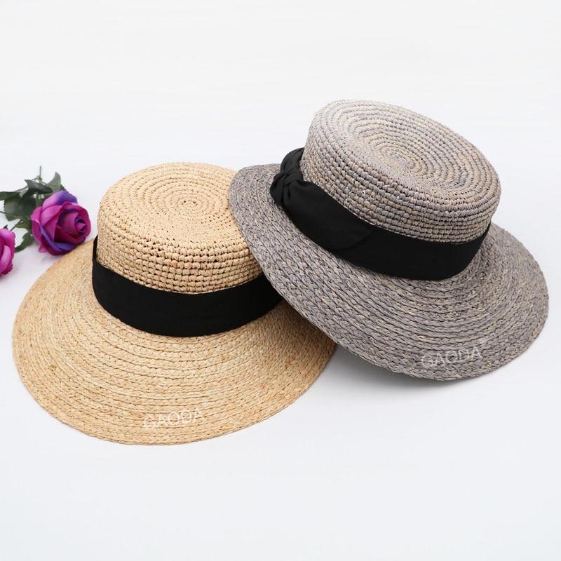 Womens Wide Brim Straw Hat Floppy Foldable Roll Up Cap Beach Sun Hat UPF 50+