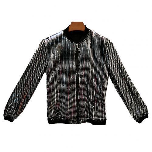 New Sequined Bomber Jacket Men Shiny Sequins Long Sleeve Glitter Zipper Coat Hip Hop Loose Night Club Stage Streetwear Coats