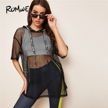 Romwe Sport Fishnet Mesh Long Hoodies Women Top Without Bra Lettering Tape Gym Black Hoodie Summer Autumn Workout Yoga Tops