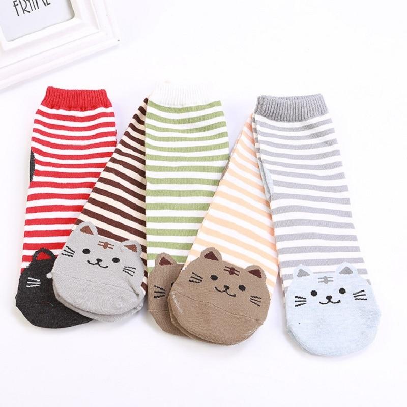 Cartoon Straight Socks For Women Adult Striped Cat Socks For Women Cotton Kitten Socks