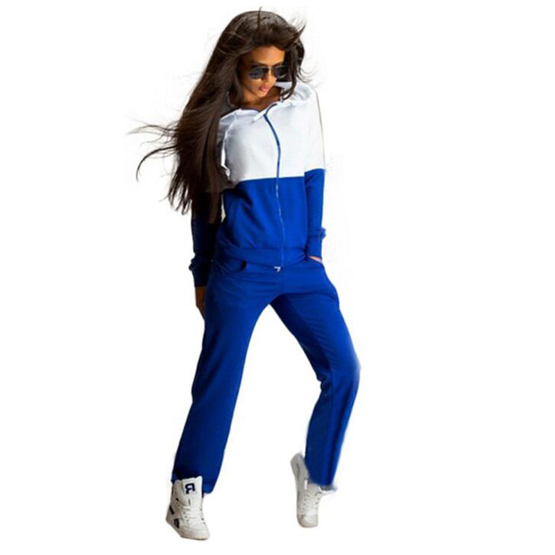 European Style Patchwork Woman Sport Set 2 Piece Sets Women Two Piece Outfits Sports Tracksuit Women Spring Sweatsuits
