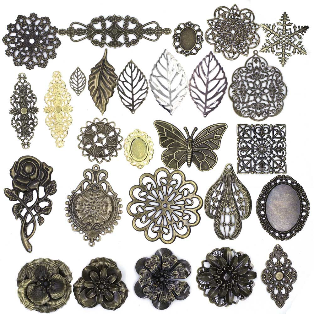 10Pcs Rose Flower Filigree Flower Pendants Wraps Metal Crafts Connectors For Embellishments Scrapbooking Jewelry DIY Accessories