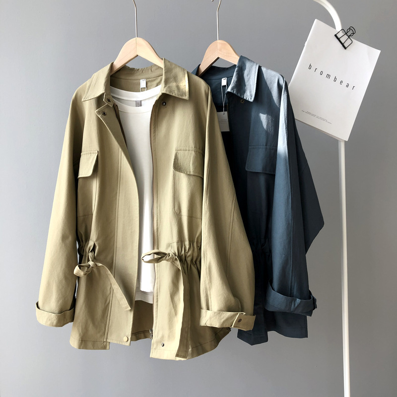 Spring Safari Jacket Women Windbreaker Coat 2020 Long Clothes Loose Coat Casual Drawstring Waistband Coats Female Khaki Jackets