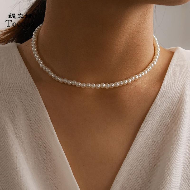 Tocona luxe perle pierre Chian collier ras du cou pour les femmes charmant à la main réglable fête pull bijoux collier 15365