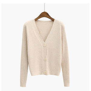 Lady Solid Color Casual Harajuku Sweater Cardigan The Female Tops Women Autumn Style Outer Wear Loose V-neck Sweater Ladies Coat