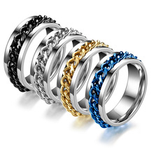 Fashion Chain Spinner Ring For Men Punk Stainless Steel Black Gold Wedding Band Male Rings Jewelry Gift DC-001 nhgbft punk style tire spinner chain rings for mens stainless steel black color biker ring male jewelry