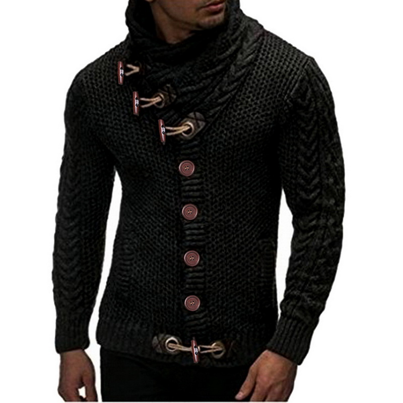 Autumn Christmas Sweater Men 2019 Fashion Streetwear Slim Cardigan Sweaters Male Winter Warm Thick Turtleneck Button Pull Homme