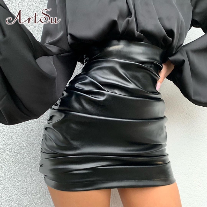ArtSu Faux Leather PU Bodycon Pencil Skirt Black Elegant High Waist Mini Skirts Women Harajuku Ruched Skirt Streetwear ASSK20275
