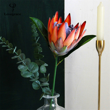 Lovegrace DIY Bouquet Flower Silk King Protea Flower Arrangement Fake Emperor Flowers Orange Home Party Wedding Table Decoration