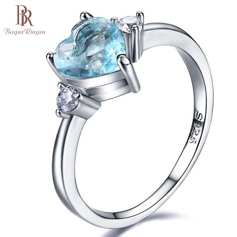 Bague Ringen Heart Shape 100% Real Silver 925 Ring  With Sapphire Gestone Ring  Wedding Engagement Cocktaill Ring Jewelry Gift