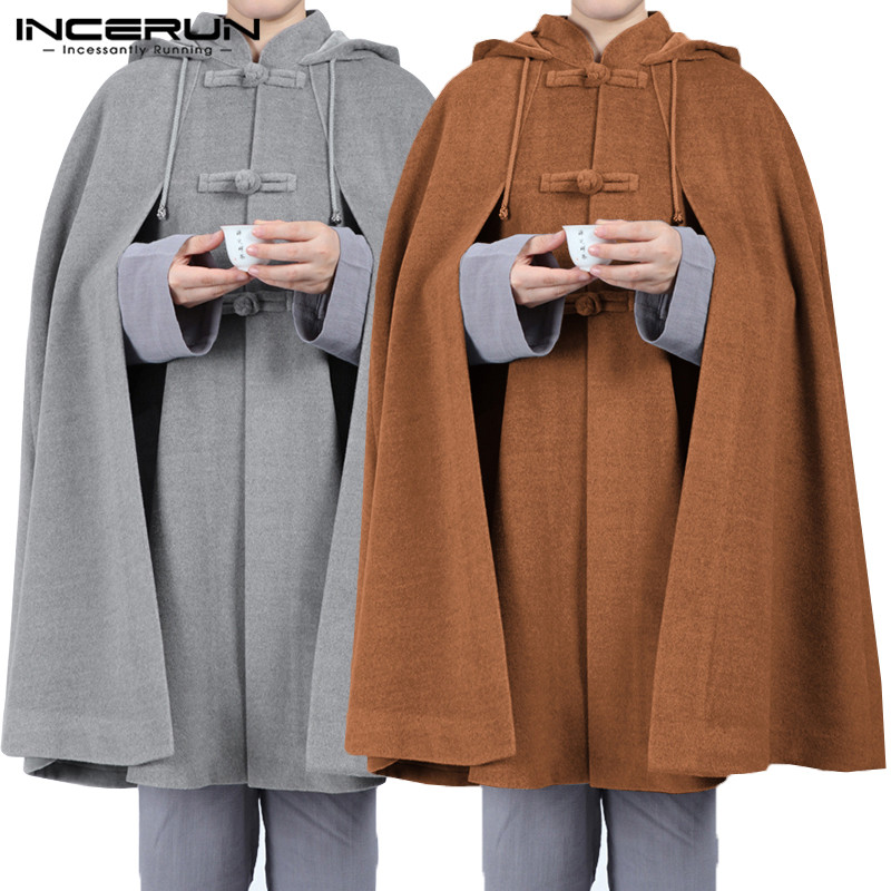 INCERUN Fashion Men Solid Color Retro Cloak Hooded Cape Jackets Baggy Casual Fleece Ponchos Mens Trench Hoodie Winter Streetwear