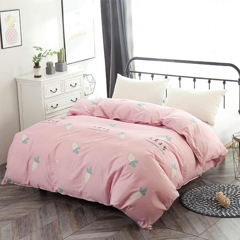 Pink carrot Duvet Cover cartoon 1pc Quilt Cover with Zipper Home Bed 100% Cotton Material Twin Full Queen king single bedclothes
