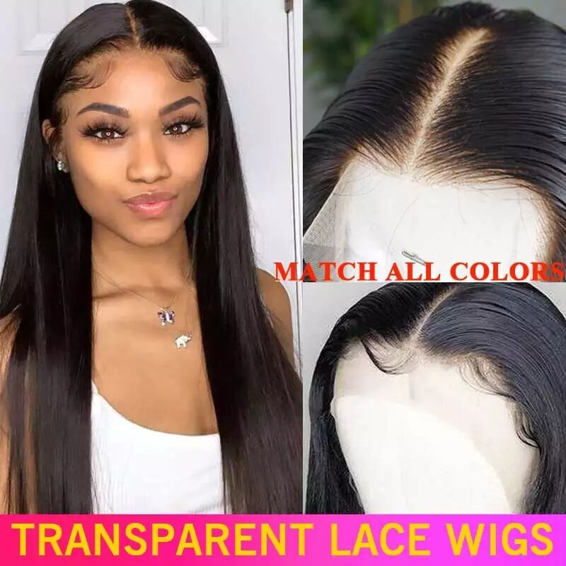 HD Transparent Lace Frontal Wig 180 200 Density Lace Front Human Hair Wigs 13x4 Remy Invisible Brazilian Straight Lace Front Wig