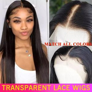 HD Transparent Lace Frontal Wig 180 200 Density Lace Front Human Hair Wigs 13x4 Remy Invisible Brazilian Straight Lace Front Wig(China)