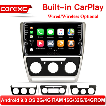 CarExc Autoradio Android 9.0 Car Muiltmedia Player For Skoda Octavia 2008-2013 A 5 A5 Yeti Fabia Radio Built-in CarPlay With GPS Navigation No DVD image