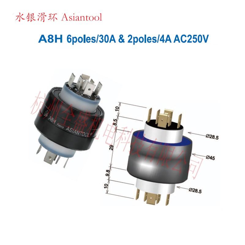 Asiantool A8H Mercury Slip Ring 6 Pole 30A 2 Pole 4A Manufacturing Machine, Textile Equipment