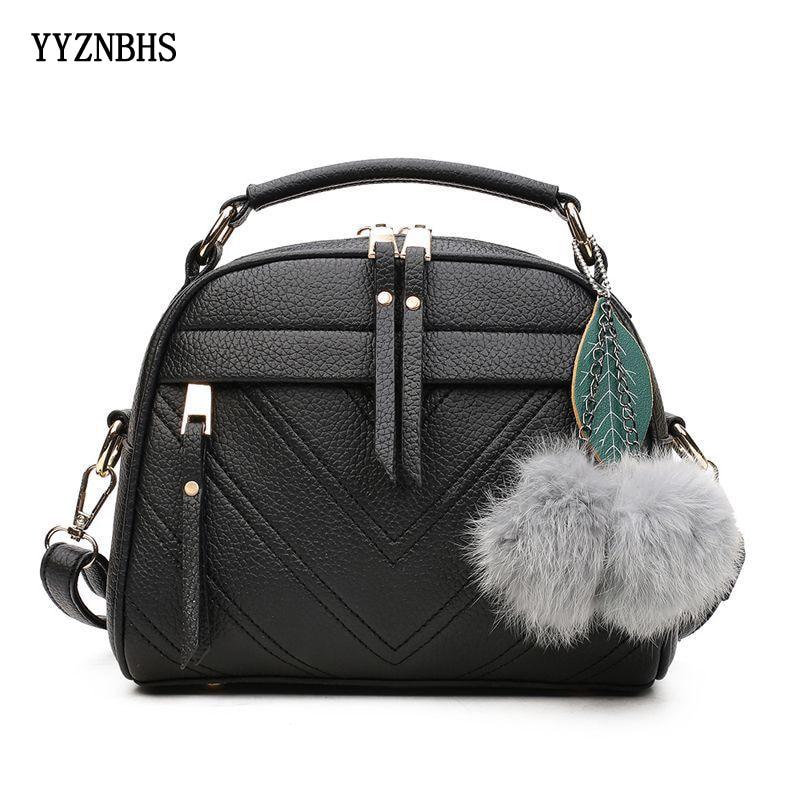 Fashion PU Leather Handbag For Women Girl Messenger Bags With Ball Toy Bolsa Female Shoulder Bag Ladies Party Handbags Black Sac