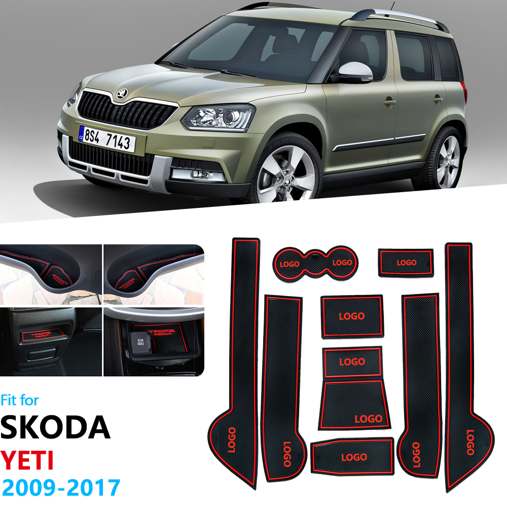 For Skoda Yeti 2009~2017 Anti-Slip Rubber Gate Slot Cup Mat Coaster Accessories Car Stickers 2010 2011 2012 2013 2014 2015 2016