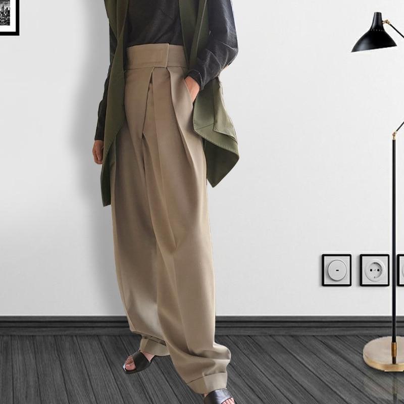 Minimalism Autumn Capris Haute Couture High Waist Cuff up Women Harem Pants Female Casual Business Suit Trousers Resort Wear New