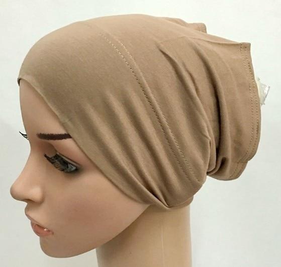 2020 soft modal inner Hijab Caps Muslim stretch Turban cap Islamic Underscarf Bonnet hat female headband tube cap turbante mujer 3