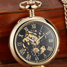 Gorben Unique Transparent Cover Mechanical Pocket Watch Men Fashion Retro Casual Skeleton Dial Hand Wind Male Fob Chain Watches