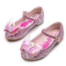 Disney Hot Frozen Elsa And Anna Girls Sandals With Glitter Bow Disney Princess Elsa Party Shoes Kids Dress Shoes