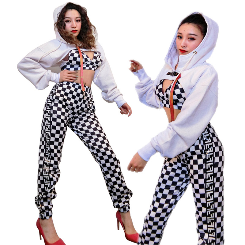 Women Hip Hop Costumes White Top Plaid Bra Pants Street Dance Clothes Adults Jazz Performance Wear Rave Stage Outfits DT1740