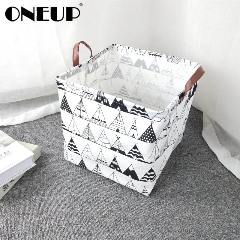ONEUP Cube Folding Laundry Basket For Kids Toy Book Storage Basket Sundries Clothes Organizer Storage Box Home Container Barrels(China)