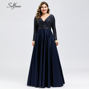 Image 3 - Fashion Plus Size Women Dress Sequined Deep V Neck Full Sleeve Elegant Navy Blue Stain Maxi Party Dress Vestidos De Festa 2020
