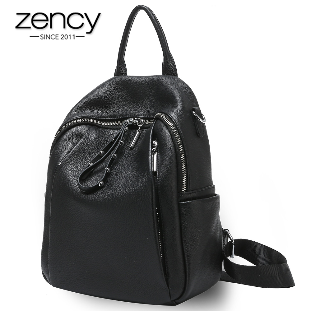 Zency 100% Genuine Leather Fashion Women Backpack Daily Casual Travel Bag High Quality Schoolbag For Girls Black Knapsack