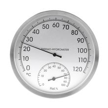 """127mm 5"""" Thermometer Hygrometer Wall Hung Stainless Steel Indoor Outdoor Sauna Room Temperature"""