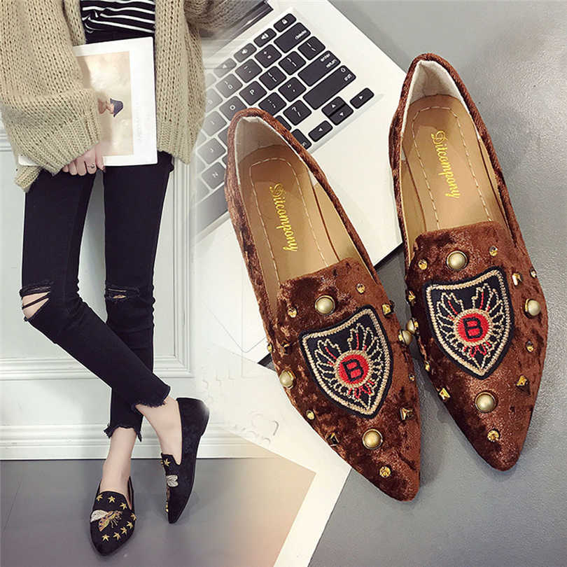 Autumn Shoes Women Flat Loafers Embroidered Platform Walking Soft Shoes Woman Ballerinas Slip-On Single Shoe zapatos mujer A20