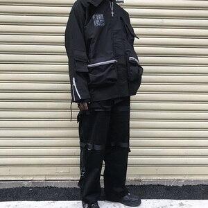 Image 3 - Pantalones Cargo de estilo Hip Hop para hombre, ropa de calle, Harajuku, cremallera trasera hebilla para el pantalón, cinta de Hip Hop, pantalón bombacho de estilo harén, bolsillos, Otoño, negro, 2019