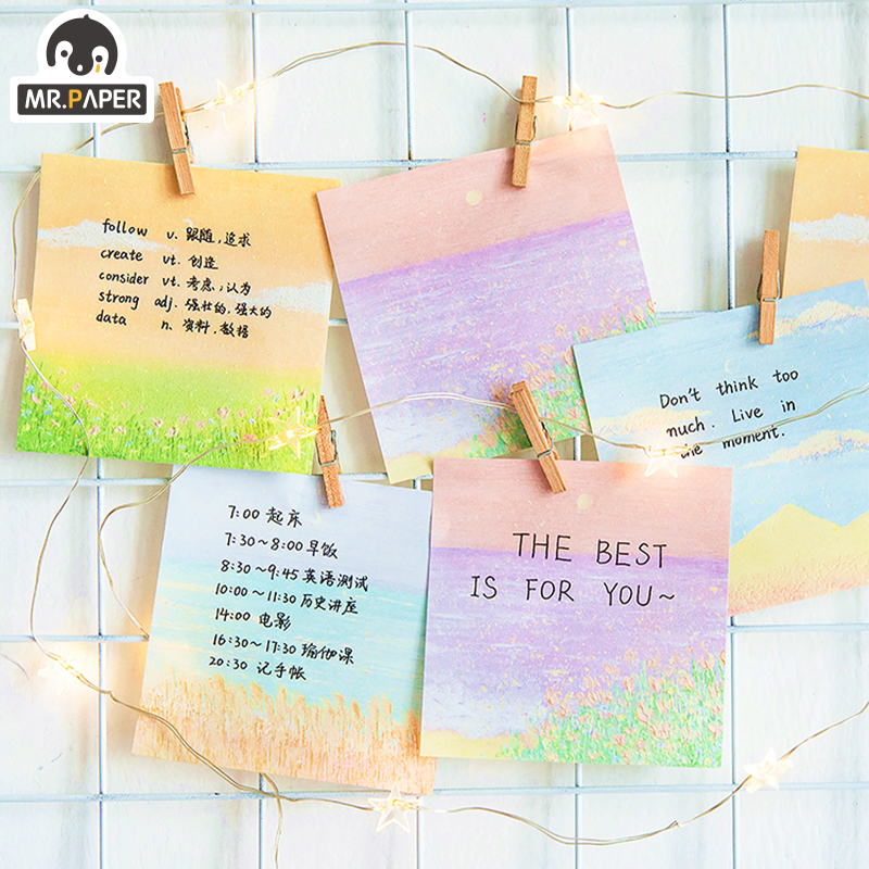 Mr.Paper 50pcs/lot 4 Designs Gentle Moonlight Series Memo Pads Loose Leaf Notepad Diary Writing Points MotorCycle Creative Note