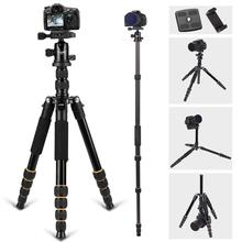 цены 64inch Q666 Portable Travel Tripod Aluminum Camera Stand Professional 360  Ball Head Tripode With Monopod for Canon Nikon Sony